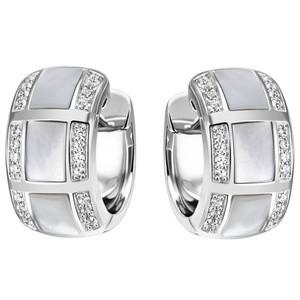 Creolen 925 Silber 48 Zirkonia 6 Perlmutt - Einlagen Ohrringe