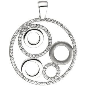 Anhänger rund 925 Sterling Silber 111 Zirkonia Silberanhänger