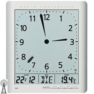 AMS5898 Wanduhr Tischuhr Funk digital silbern Datum Thermometer Weckfunktion