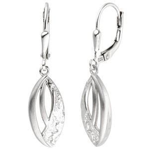 Ohrhänger 925 Sterling Silber matt und gehämmert Ohrringe Boutons Silberohrringe