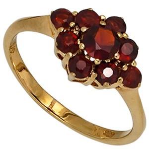 Damen Ring Gold Gelbgold 9 Granate rot Goldring Granatring