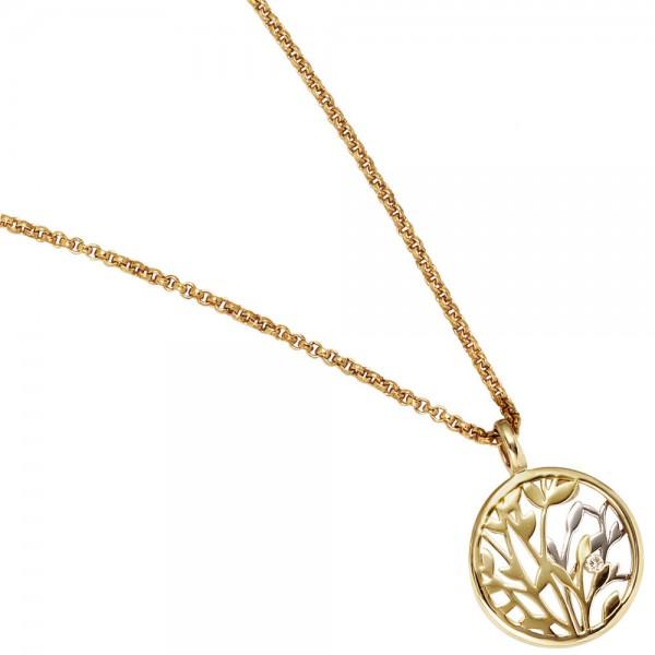 Anhänger rund 585 Gold Gelbgold Weißgold kombiniert 1 Diamant Brillant 0,02ct.