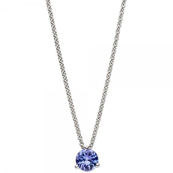 Collier Kette mit Anhänger 585 Gold Weißgold 1 Tansanit blau 42 cm Halskette