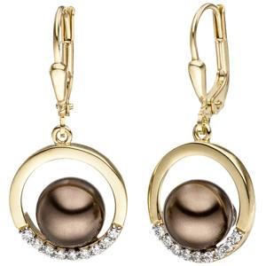 Ohrhänger 333 Gold Gelbgold bicolor mit dunklen Perlen und Zirkonia Ohrringe