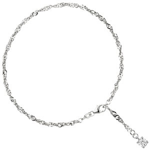 Fußkettchen Fußkette 925 Sterling Silber rhodiniert 1 Zirkonia 25 cm Karabinerverschluß