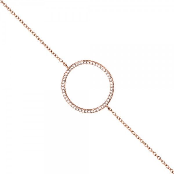 Armband 925 Sterling Silber rotgold vergoldet 52 Zirkonia 21 cm