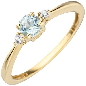 Damen Ring schmal 333 Gold Gelbgold 1 Blautopas hellblau blau2 Zirkonia