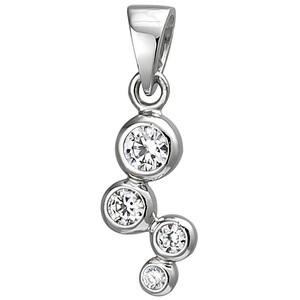 Anhänger 925 Sterling Silber 4 Zirkonia Silberanhänger
