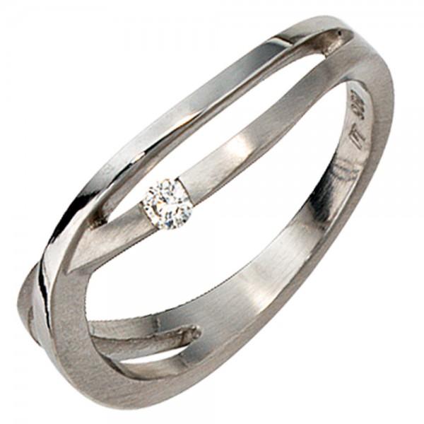 Damen Ring 950 Platin mattiert 1 Diamant Brillant 0,05ct. Platinring