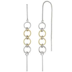 Durchzieh-Ohrhänger lang 925 Sterling Silber bicolorOhrringe zum Durchziehen
