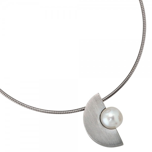 Anhänger Edelstahl mattiert 1 Süßwasser Perle Perlenanhänger