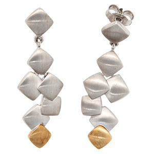Ohrhänger 925 Sterling Silber mit 585 Gold Gelbgold bicolor matt Ohrringe