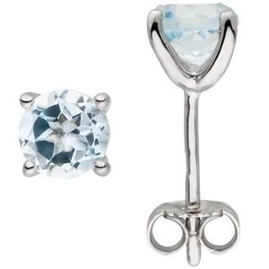 Ohrstecker 925 Sterling Silber 2 Blautopase hellblau blau Ohrringe