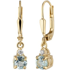 Ohrhänger 333 Gold Gelbgold 2 Zirkonia 2 Blautopase hellblau blau Ohrringe
