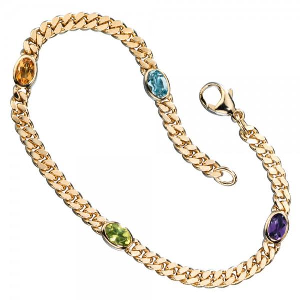 Armband 585 Gold Gelbgold 19 cm Amethyst Aquamarin Citrin Peridot Goldarmband