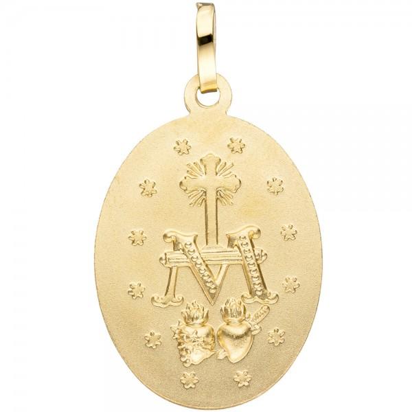 Anhänger Milagrosa oval 333 Gold Gelbgold matt mattiert Goldanhänger