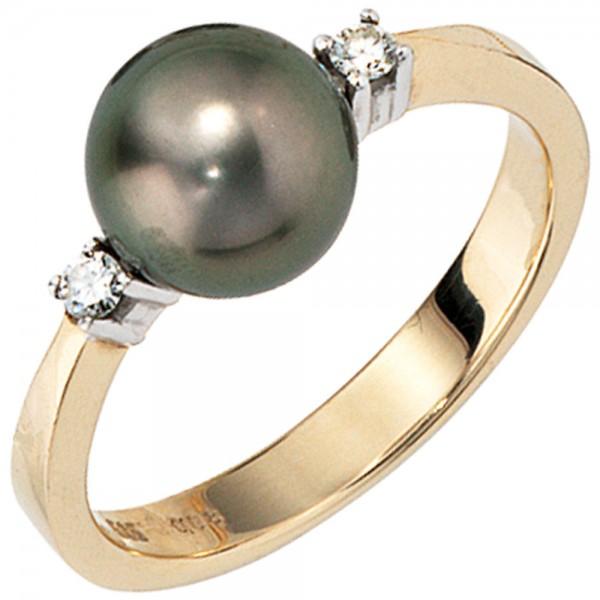 Damen Ring 585 Gold Gelbgold 2 Diamanten Brillanten 1 Tahiti Perle Perlenring