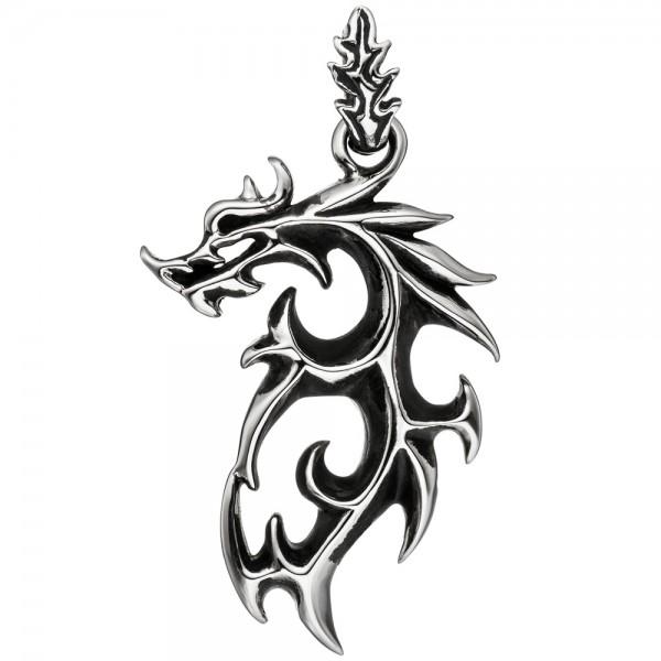 Anhänger Kettenanhänger Drache aus Edelstahl Drachen-Anhänger schwarz