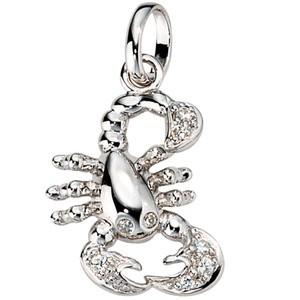 Anhänger Sternzeichen Skorpion 925 Silber mit Zirkonia Sternzeichenanhänger