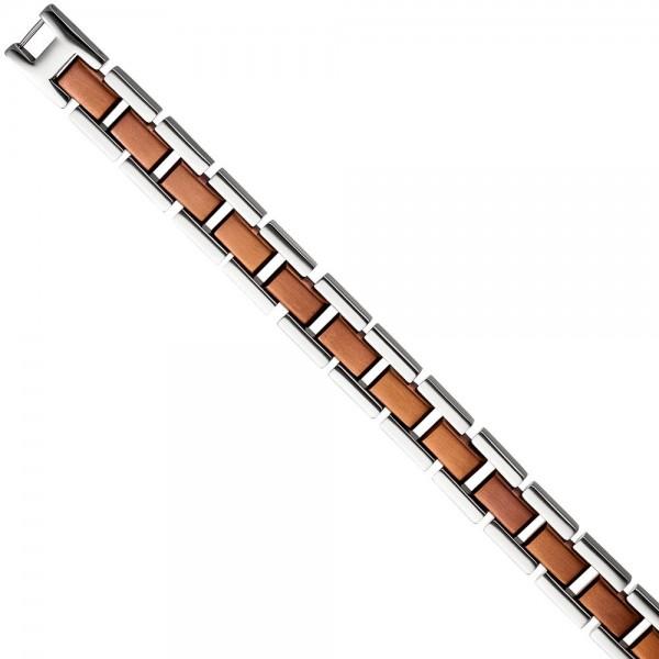 Armband Edelstahl braun plattiert bicolor 21 cm Klappverschluss