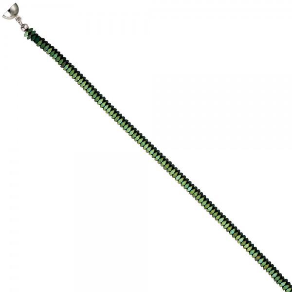 Collier Edelsteinkette Hämatin grün 45 cm Halskette Kette