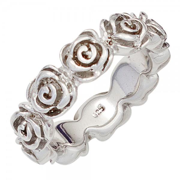 Damen Ring Rosen 925 Sterling Silber rhodiniert Silberring