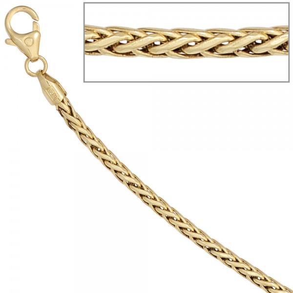 Zopfkette 585 Gelbgold 2,6 mm 45 cm Gold Kette Halskette Goldkette Karabiner