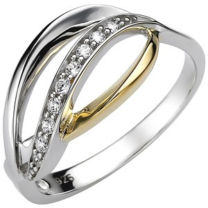 Damen Ring 925 Sterling Silber bicolor vergoldet 9 Zirkonia Silberring