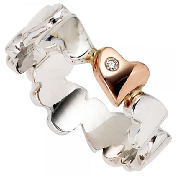 Damen Ring Herzen 585 Gold Weißgold Rotgold bicolor 1 Diamant Brillant Herzring