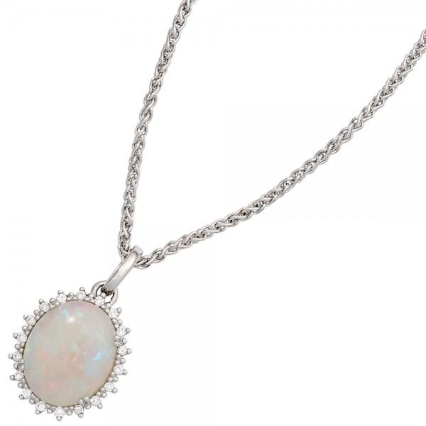 Anhänger oval 585 Gold Weißgold 1 Opal 18 Diamanten Brillanten 0,10ct.