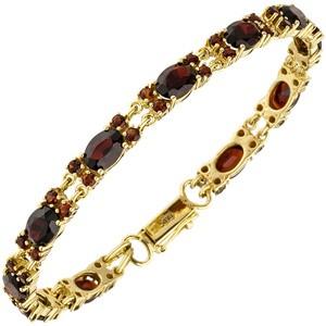 Armband 375 Gold Gelbgold 55 Granate rot 18 cm Gelbgoldarmband Granatarmband