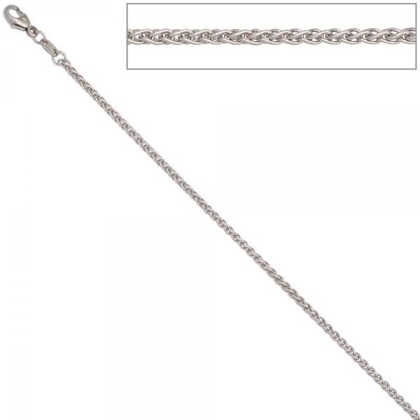 Zopfkette 585 Weißgold 1,8 mm 50 cm Gold Kette Halskette Weißgoldkette Karabiner