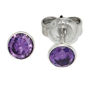 Ohrstecker rund 925 Sterling Silber rhodiniert 2 Zikonia lila violett Ohrringe