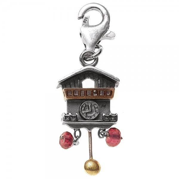 Einhänger Charm Uhr 925 Sterling Silber bicolor vergoldet 2 Granate rot