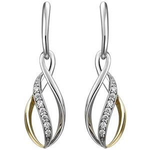 Ohrhänger 925 Sterling Silber bicolor vergoldet 14 Zirkonia