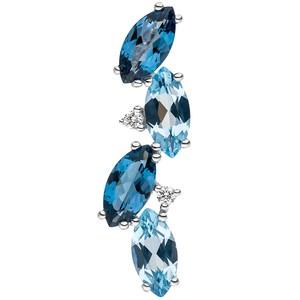 Anhänger 585 Weißgold 2 Diamanten Brillianten 4 Blautopase hellblau blau