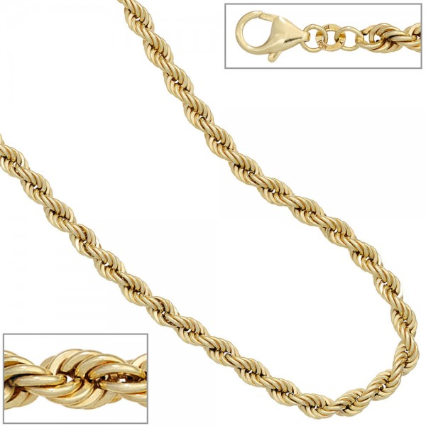 Kordelarmband 585 Gold Gelbgold 19 cm Armband Goldarmband Karabiner