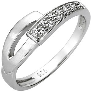 Damen Ring 925 Sterling Silber 13 Zirkonia Silberring