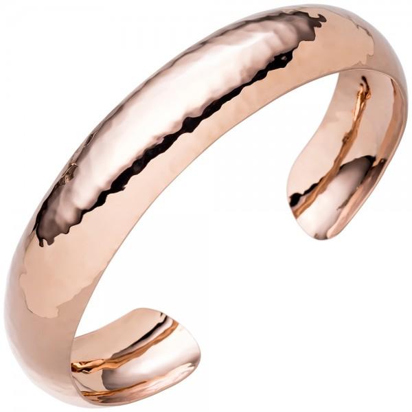 Armspange / offener Armreif 925 Silber rotgold vergoldet gehämmert Armband