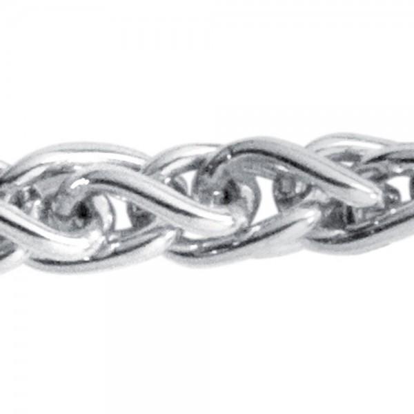 Zopfkette 925 Sterling Silber 2,2 mm 45 cm Halskette Kette Silberkette Karabiner