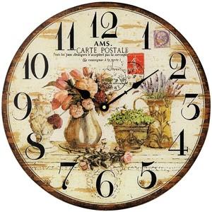 AMS9466 Wanduhr Quarz analog rund vitage antik retro mit Blumen Motiv