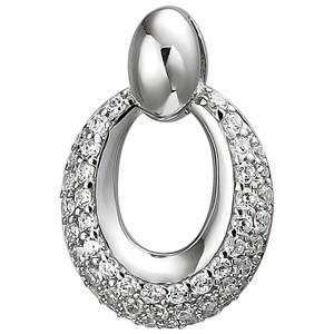 Anhänger oval 925 Sterling Silber 50 Zirkonia Silberanhänger