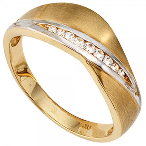 Damen Ring 333 Gold Gelbgold bicolor mattiert 9 Zirkonia Goldring
