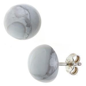 Ohrstecker rund 925 Sterling Silber 2 Howlite Ohrringe