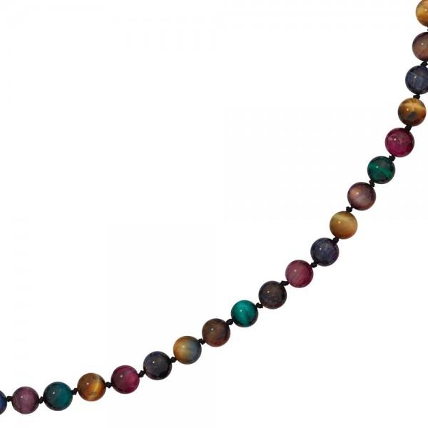 Collier Edelsteinkette Tigerauge bunt 45 cm Halskette Kette Federring