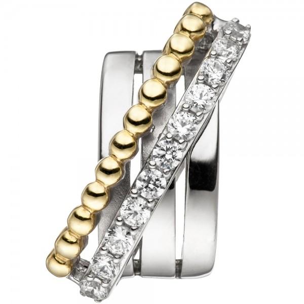 Anhänger 925 Sterling Silber bicolor vergoldet mit Zirkonia Silberanhänger