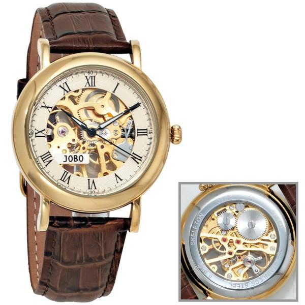 JOBO Herrenuhr Armbanduhr Handaufzug Skelett - Werk Glasboden