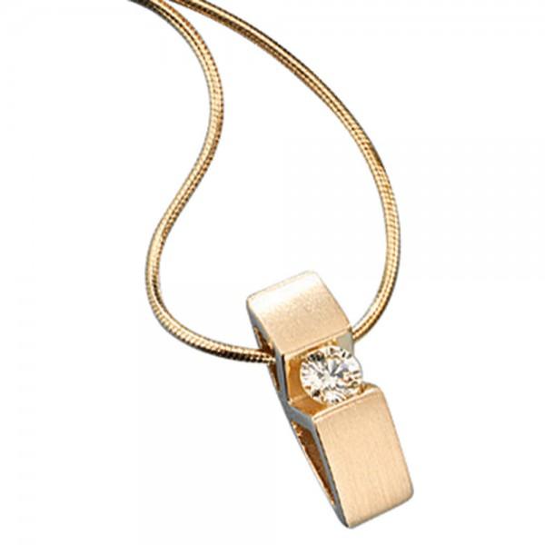Collier Kette mit Anhänger 585 Gold Gelbgold 1 Diamant Brillant 42 cm Halskette
