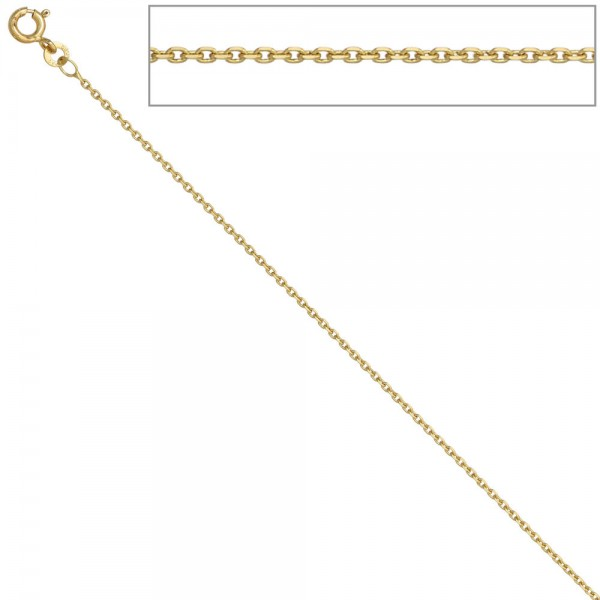 Ankerkette 585 Gelbgold 1,2 mm 38 cm Gold Kette Halskette Goldkette Federring
