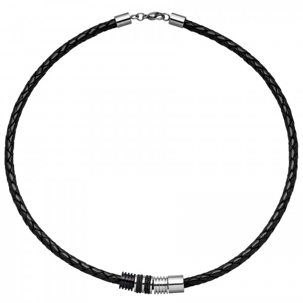 Collier Halskette Leder mit Edelstahl und Kautschuk 45 cm Kette Lederkette